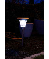Silver-tone solar path light 48cm