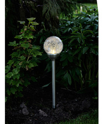 Silver-tone solar bauble path light 45cm