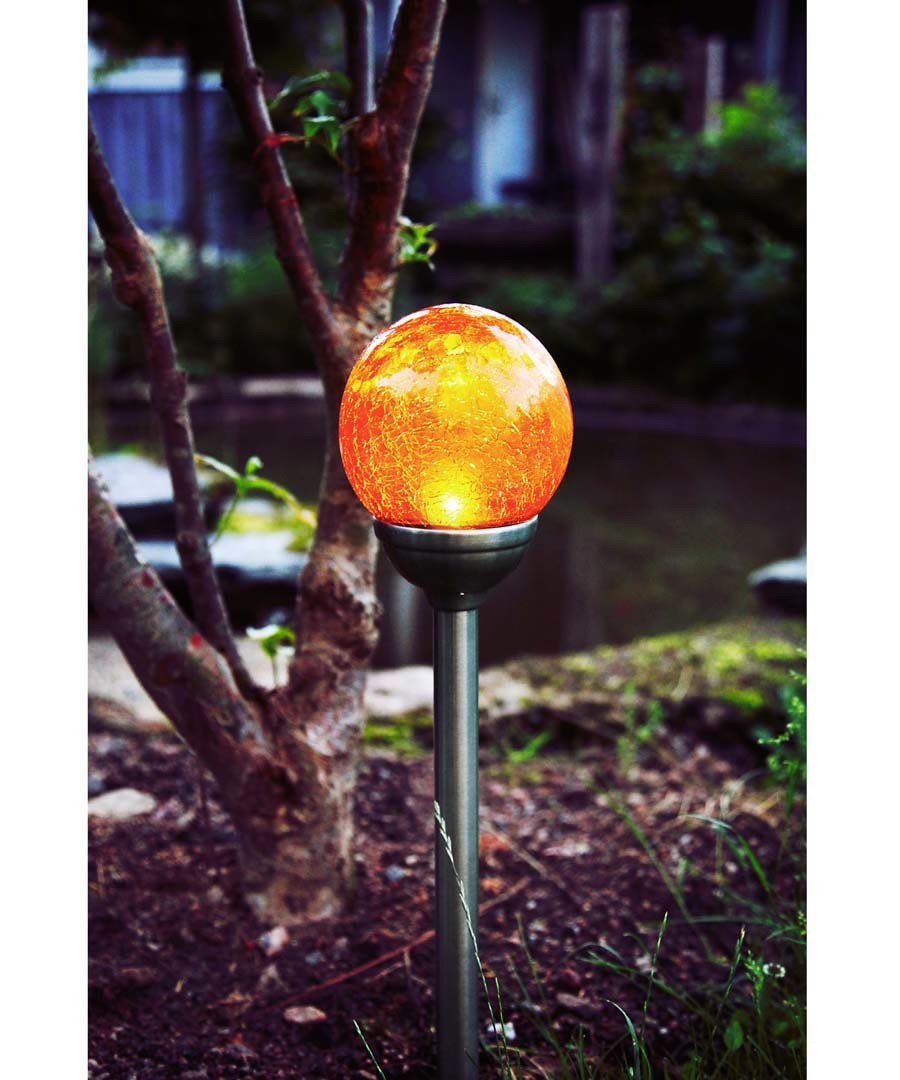 amber glass Solar path light 12cm Sale - solar lighting