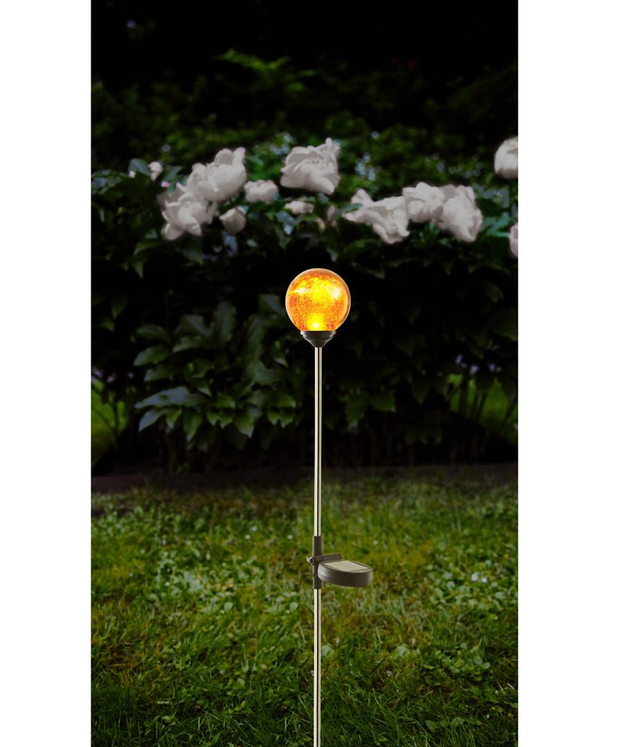 Roma amber glass bauble solar path light Sale - solar lighting