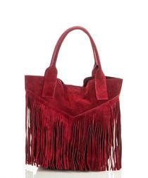 Red suede fringe tote bag