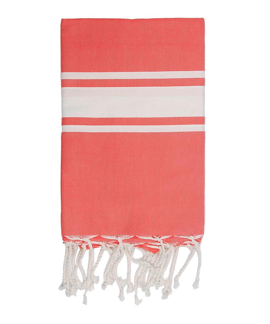 St Tropez coral cotton fouta towel Sale - FEBRONIE