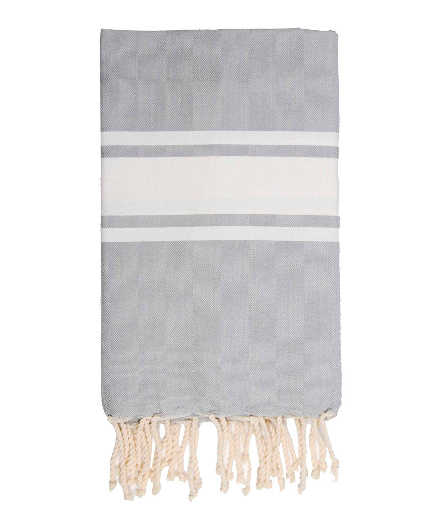 St Tropez pearl grey cotton fouta towel Sale - FEBRONIE