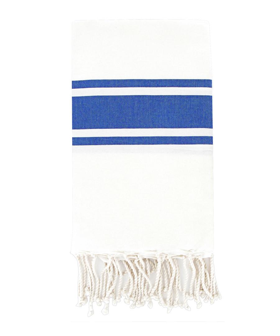 St Tropez white & blue fouta towel Sale - FEBRONIE
