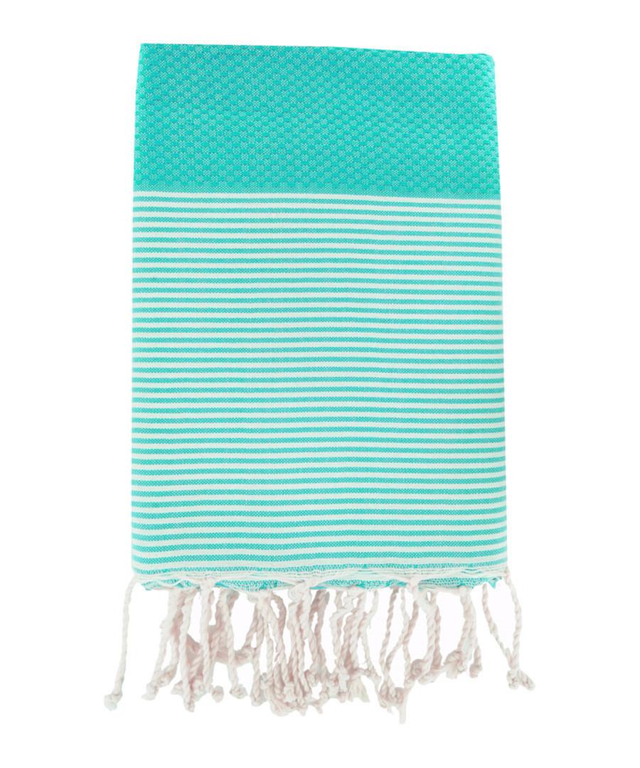 Honeycomb Ibiza green cotton fouta towel Sale - FEBRONIE