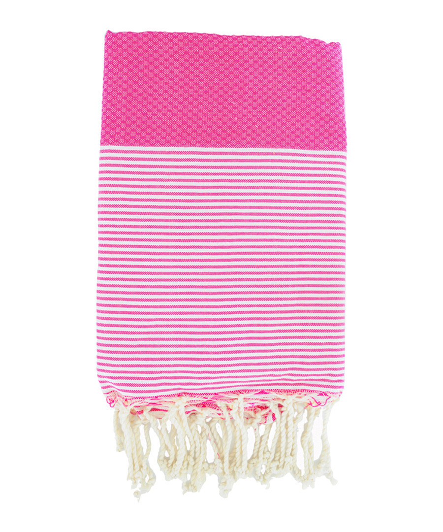 Honeycomb Ibiza pink cotton fouta towel Sale - FEBRONIE