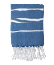 Mykonos blue cotton fouta towel