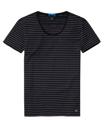 Black cotton blend striped T-shirt