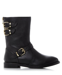 Rowen black leather ankle boots