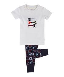 2pc white cotton pyjama set