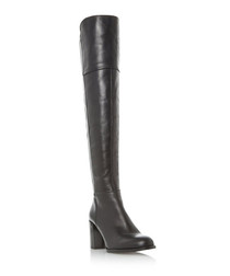 Tommy black leather over-the-knee boots