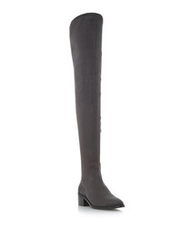 Suade grey over-the-knee boots