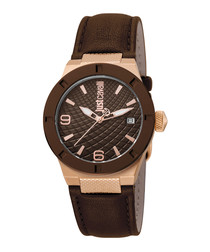 Brown leather & rose gold-tone watch