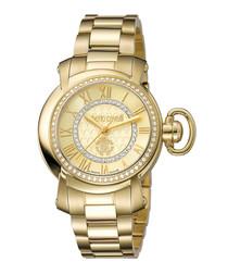Gold-plated Swiss quartz link watch