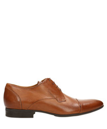 Cognac leather Oxford lace-up shoes