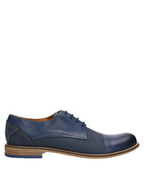 Navy blue & brown leather lace-up shoes