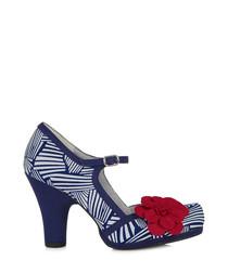 Tanya navy & white flower heels