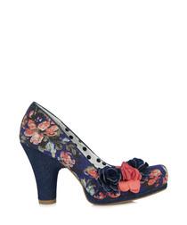 Eva black floral heels