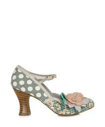 Dee mint & peach polka dot mid heels