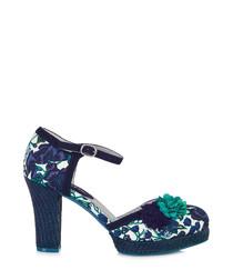 Flo navy & turquoise heels