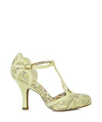 Polly lemon yellow T-bar heels