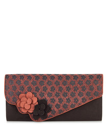 Cairo brown & red flower clutch