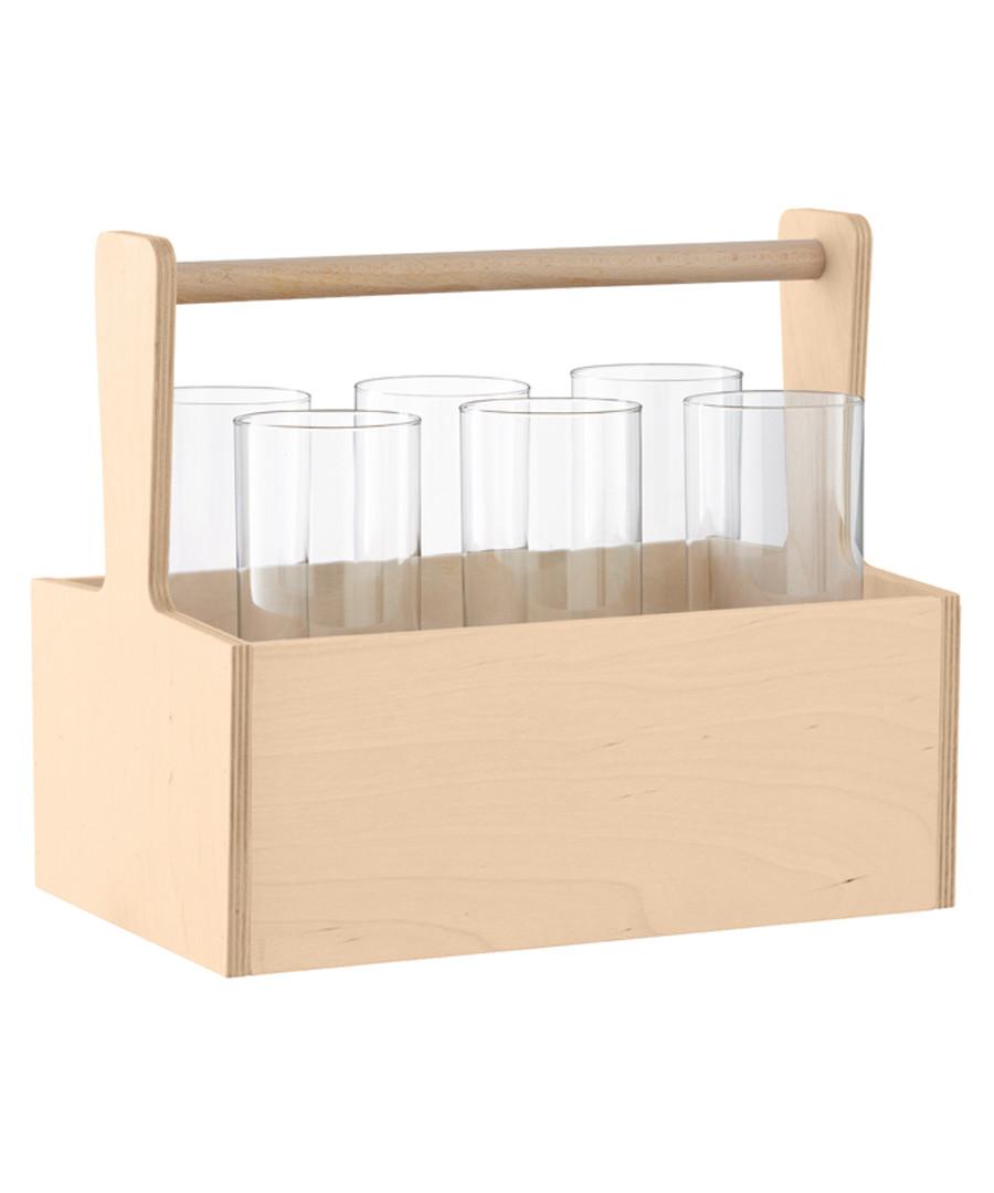 6pc Nomad glass & birch hi-ball set Sale - lsa