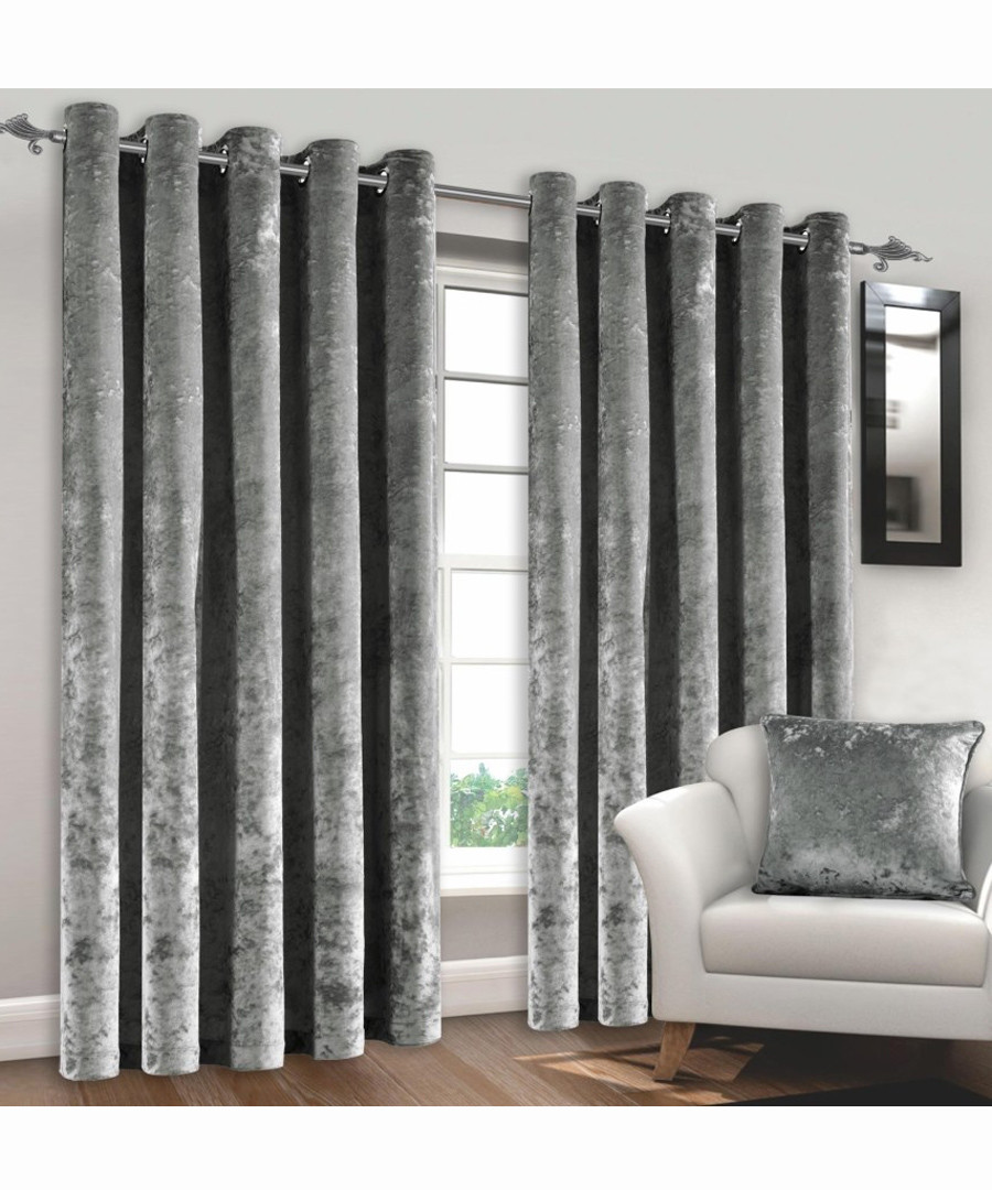 Silver Crushed Velvet Curtains 72 Sale