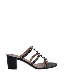 Rockstud black leather mule sandals