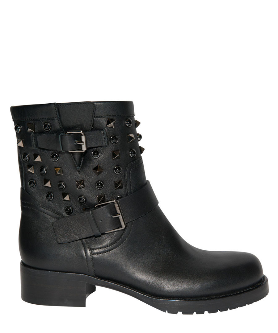 Women's Rockstud black leather boots Sale - valentino