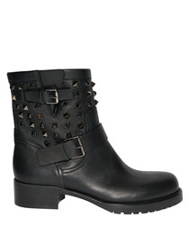 Women's Rockstud black leather boots