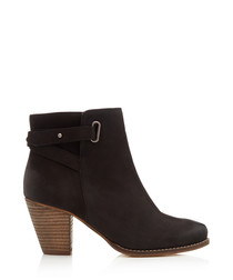 Smart black leather heeled ankle boots