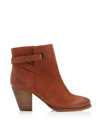 Smart tan suede heeled ankle boots