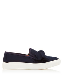 Just navy bow slip-on sneakers