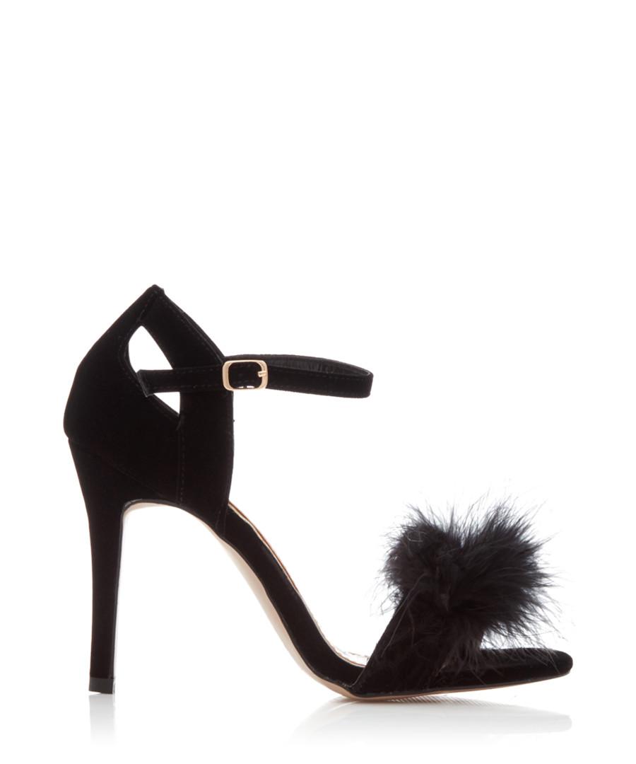 Sasha black suede furry sandal heels Sale - Miss KG