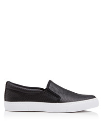 Kellie black snake-effect slip ons