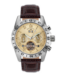 Galactique brown leather watch