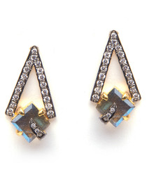 Pyramid 18ct gold plated blue earrings
