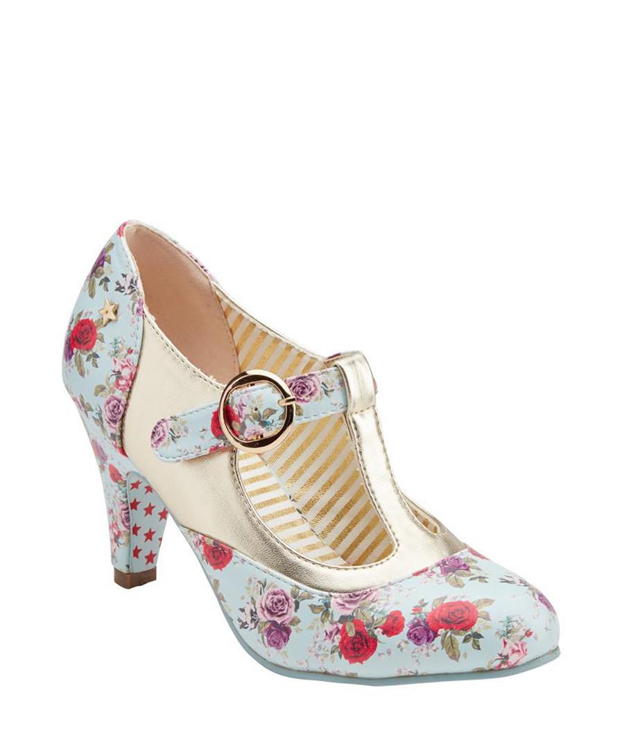 Terrie blue & red floral T bar heels Sale - joe browns