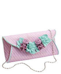 All Things Nice pink & mint clutch