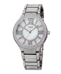 Silver-tone crystal encrusted watch
