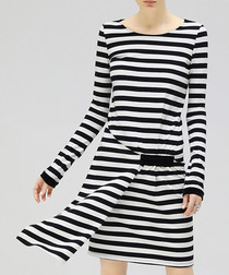 Black & white stripe layered dress
