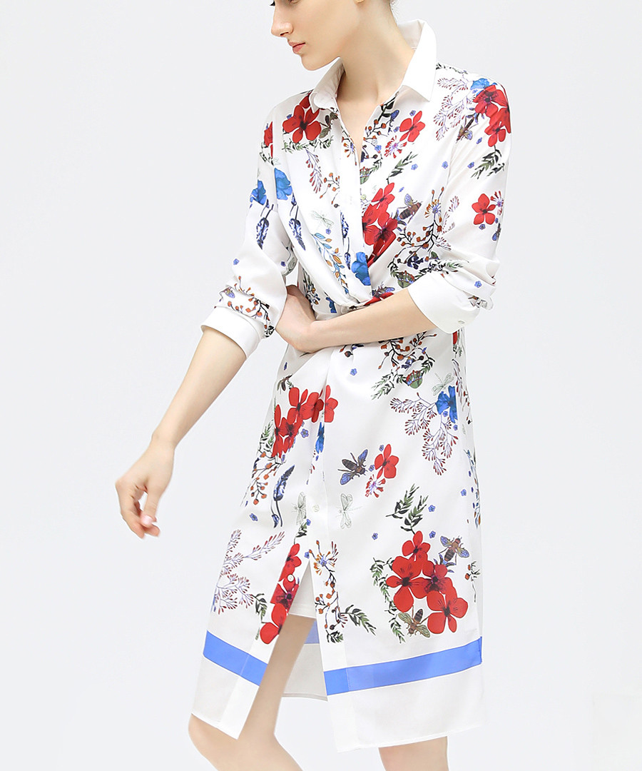 White floral twisted shirt dress Sale - cocobella