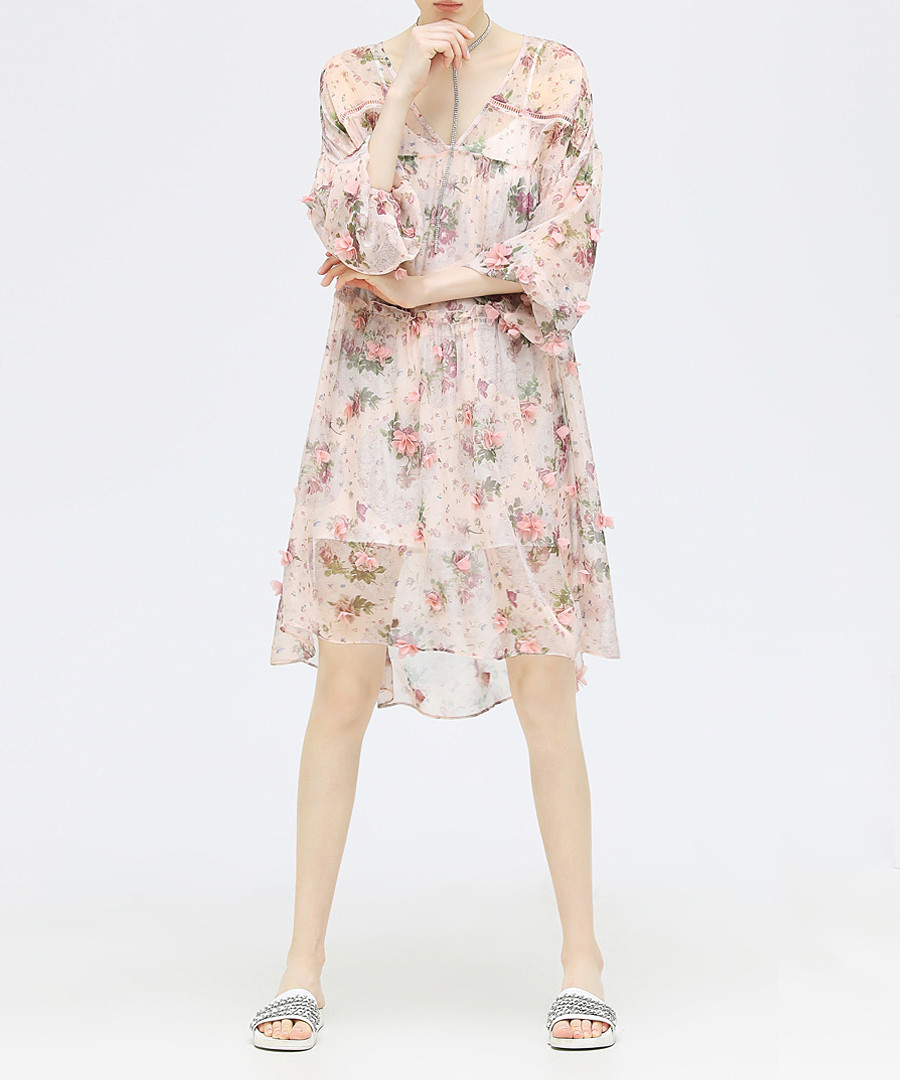Pink floral V-neck dress  Sale - cocobella