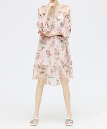 Pink floral V-neck dress