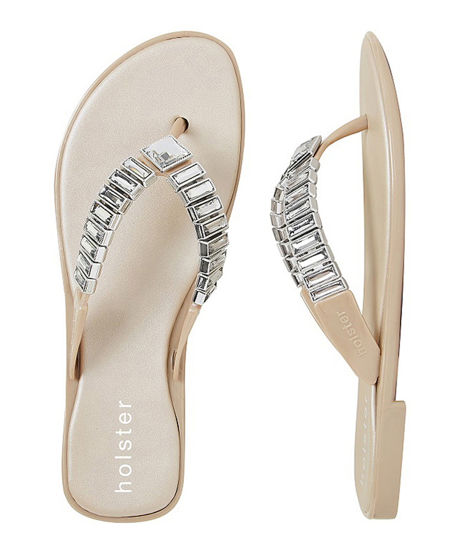 accbf255be7c Heaven champagne jewelled flip flops Sale - Holster
