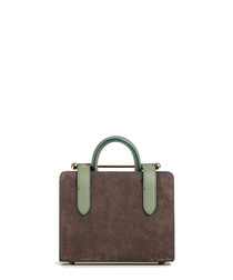 The Strathberry Nano grey suede grab bag