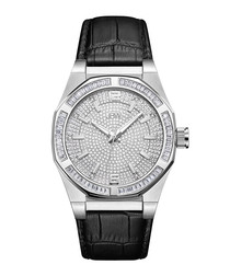 Apollo black diamond & leather watch