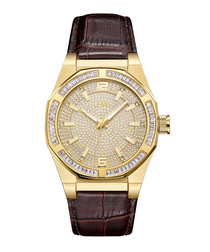 Apollo 18k gold-plated & diamond watch