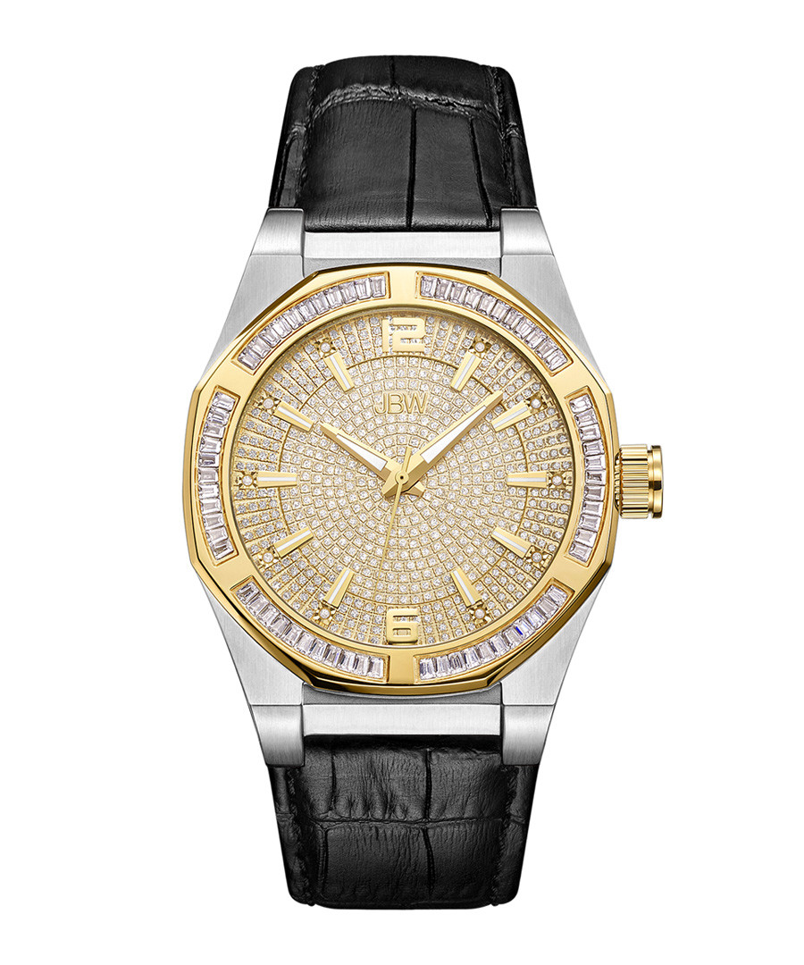 Apollo black diamond & leather watch Sale - jbw